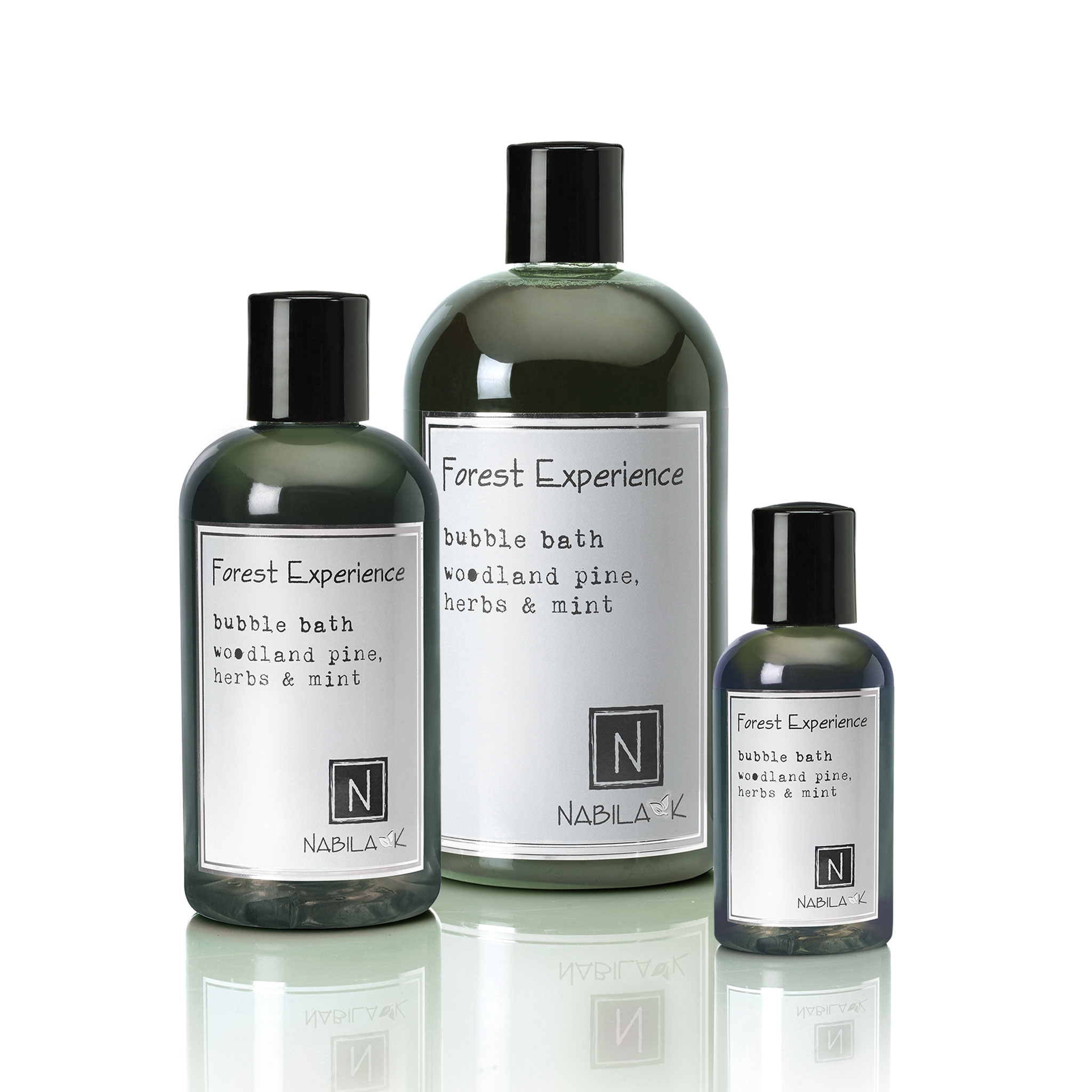 1 2oz bottle and 8oz bottle and 16oz bottle of forest experience bubble bath woodland pine, herbs and mint