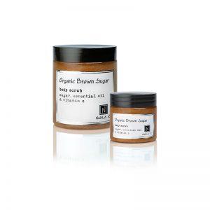 1 10oz jar and 1 3oz jar of Nabila K's Organic Brown Sugar Body Scrub with sugar, essential oil and vitamin c