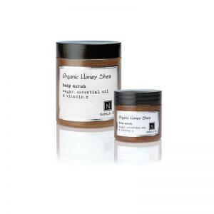1 10oz jar and 1 3oz Jar of Nabila K's Organic Honey Shea Body Scrub with sugar, essential oil and vitamin c
