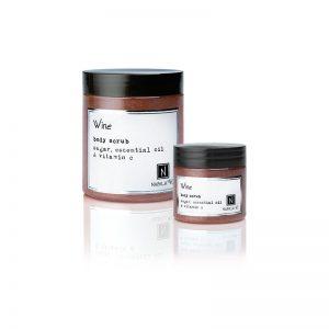 1 3oz jar and 1 10oz Jar of Nabila K's Wine Body Scrub with sugar, essential oil and vitamin c