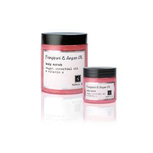 1 3oz jar and 1 10oz jar of Nabila K's Frangipani and Argan Oil Body Scrub with sugar, essential oil, and vitamin c