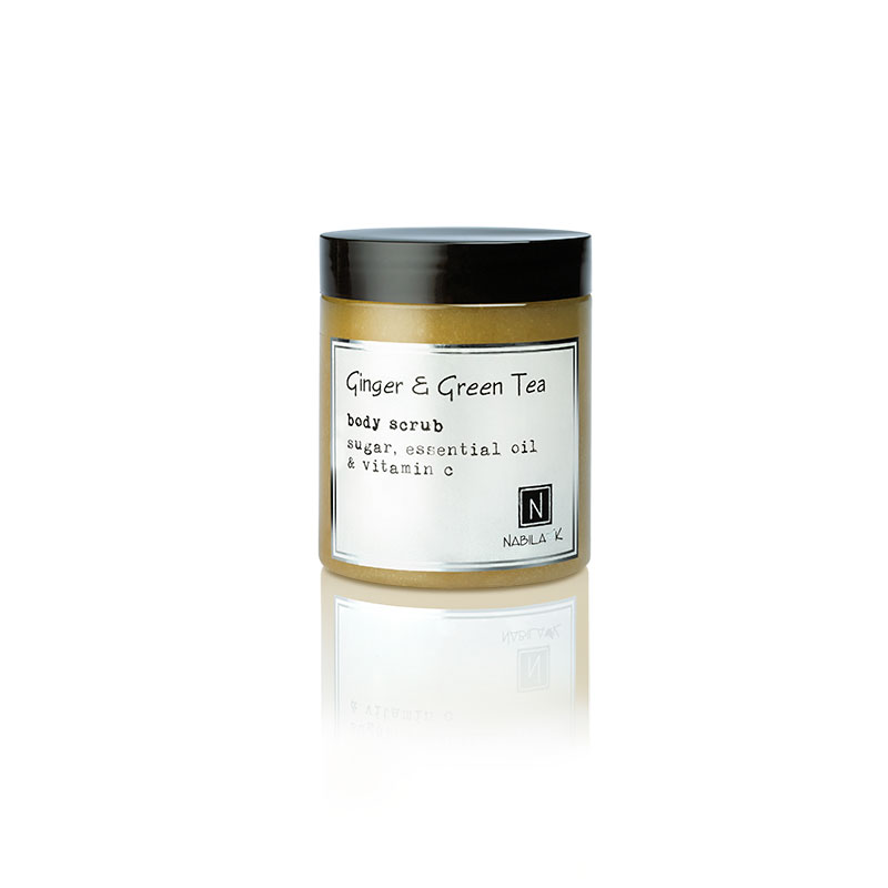 1 10oz Jar of Nabila K's Ginger and Green Tea Body Scrub with sugar, essential oil and vitamin c