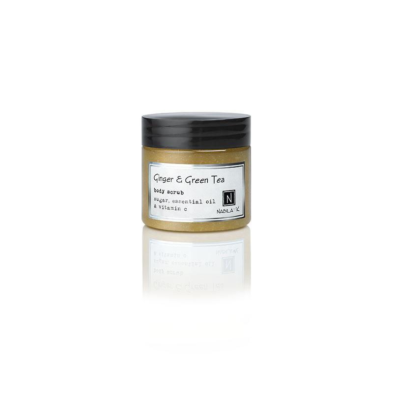 1 3oz Jar of Nabila K's Ginger and Green Tea Body Scrub with sugar, essential oil and vitamin c