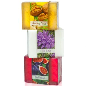 3 Bars of Nabila K's Full Bloom Glycerin Soap Stacked on top of each other