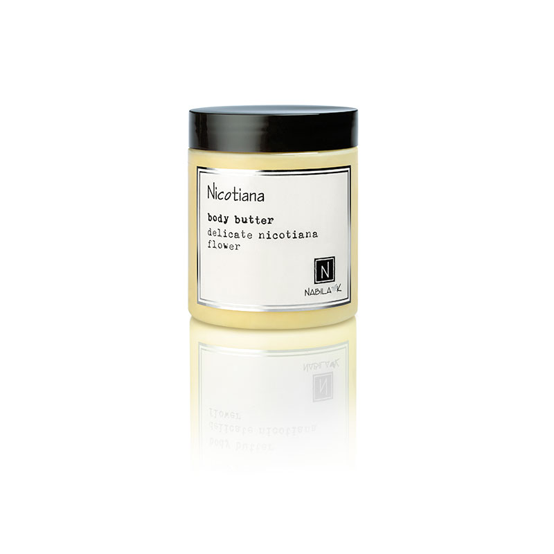 1 10oz jar of Nabila K's Nicotiana Body Butter with delicate nicotiana flower