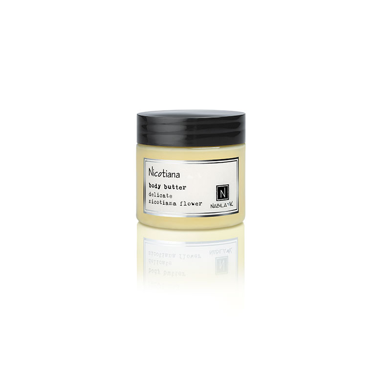 1 2oz jar of Nabila K's Nicotiana Body Butter with delicate nicotiana flower