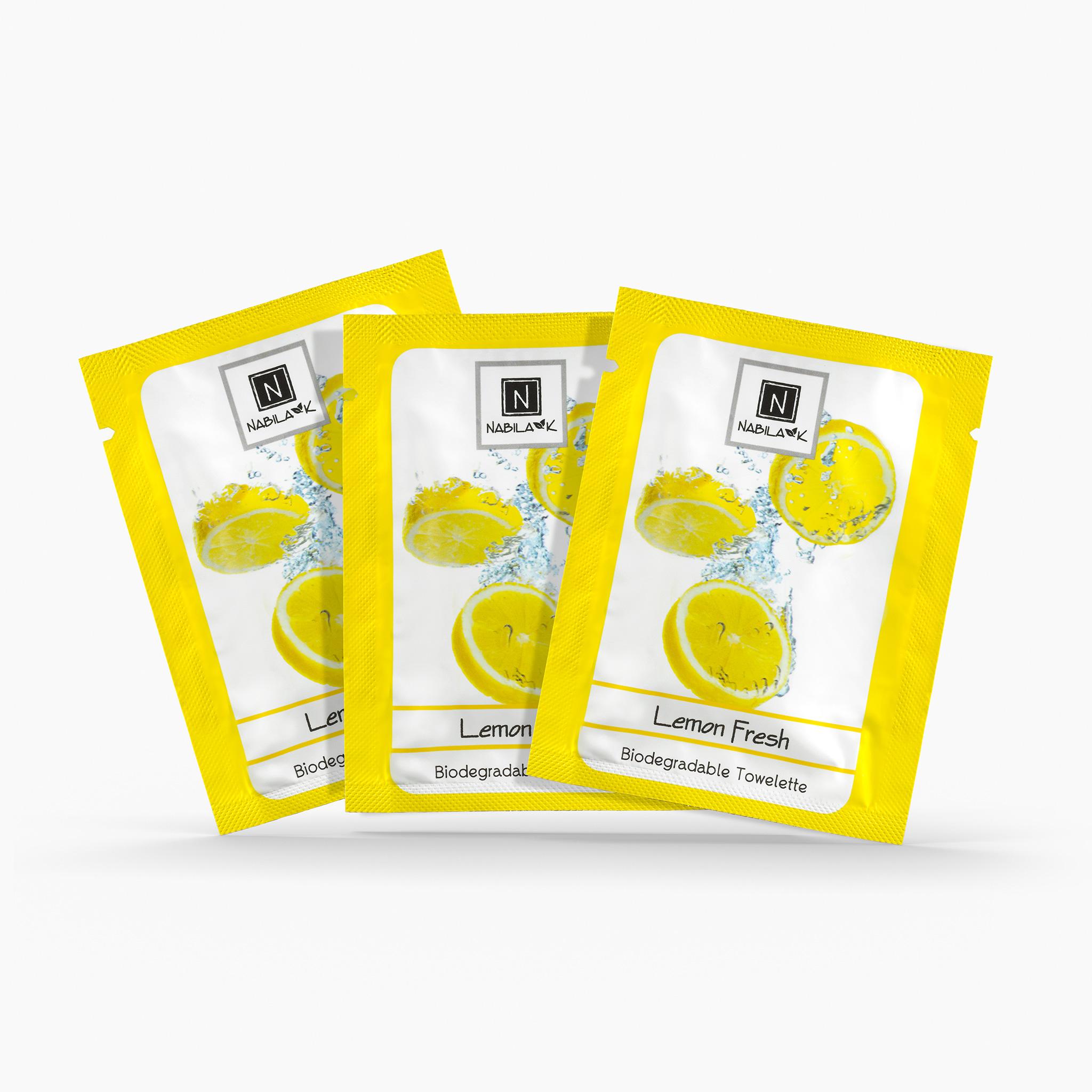 3 Single Use Packs of Nabila K's Lemon Fresh Biodegradable Towelettes
