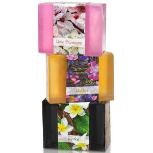 3 Bars of Nabila K's Full Bloom Glycerin Soap Stacked on each other