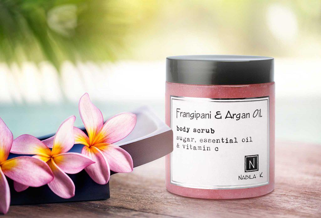 1 Jar of Nabila K's Frangipani and Argan Oil Body Scrub Sugar, Essential Oil and Vitamin C