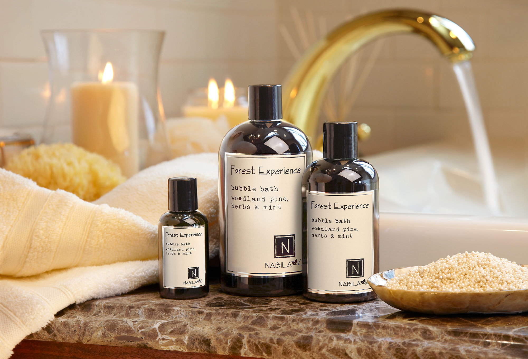 Small, Medium, and Large Bottles of Forest Experience Bubble Bath Woodland Pine, Herbs and Mints