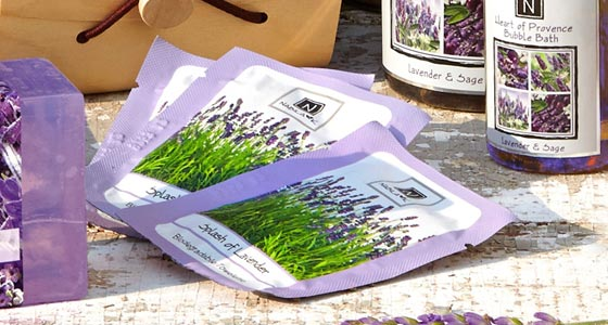 3 Packets of Nabila K's Splash of Lavender Biodegradable Towelettes