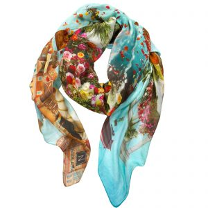 Nabila K's Rose Garden Scarf wrapped and twisted in a way to show how it can be worn