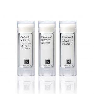 sweet vanilla moisturizing lip balm 100% natural 85% organic, passionfruit moisturizing lip balm 100% natural 85% organic, peppermint moisturizing lip balm 100% natural 85% organic