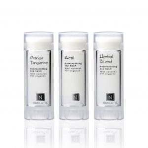 orange tangerine moisturizing lip balm 100% natural 85% organic, acai moisturizing lip balm 100% natural 85% organic, herbal blend moisturizing lip balm 100% natural 85% organic