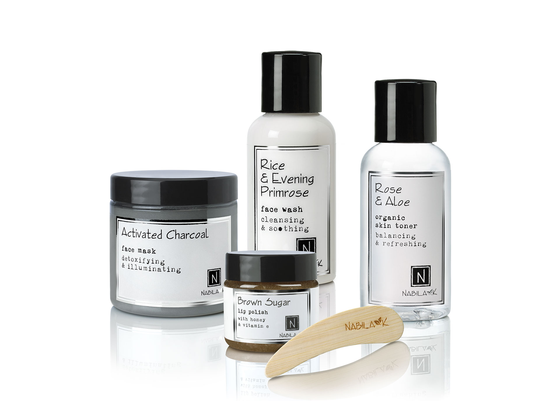 Repair and Care Beauty Box. Features Rose & Aloe, Rice and Evening Primrose extracts, the detoxifying charcoal, and gentle brown sugar scrub.