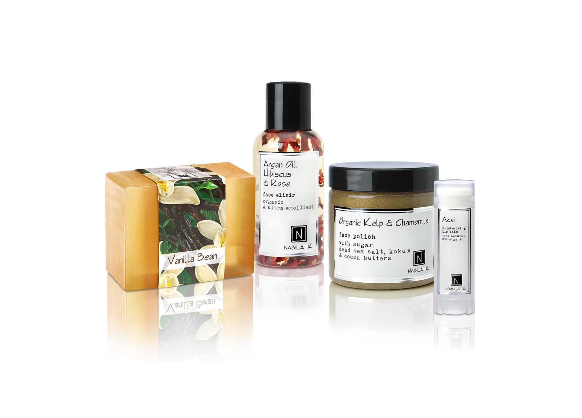Natural Detox Box with Argan Oil serum, vanilla glycerin soap, organic kelp/Chamomile face polish, and Acai lip balm.