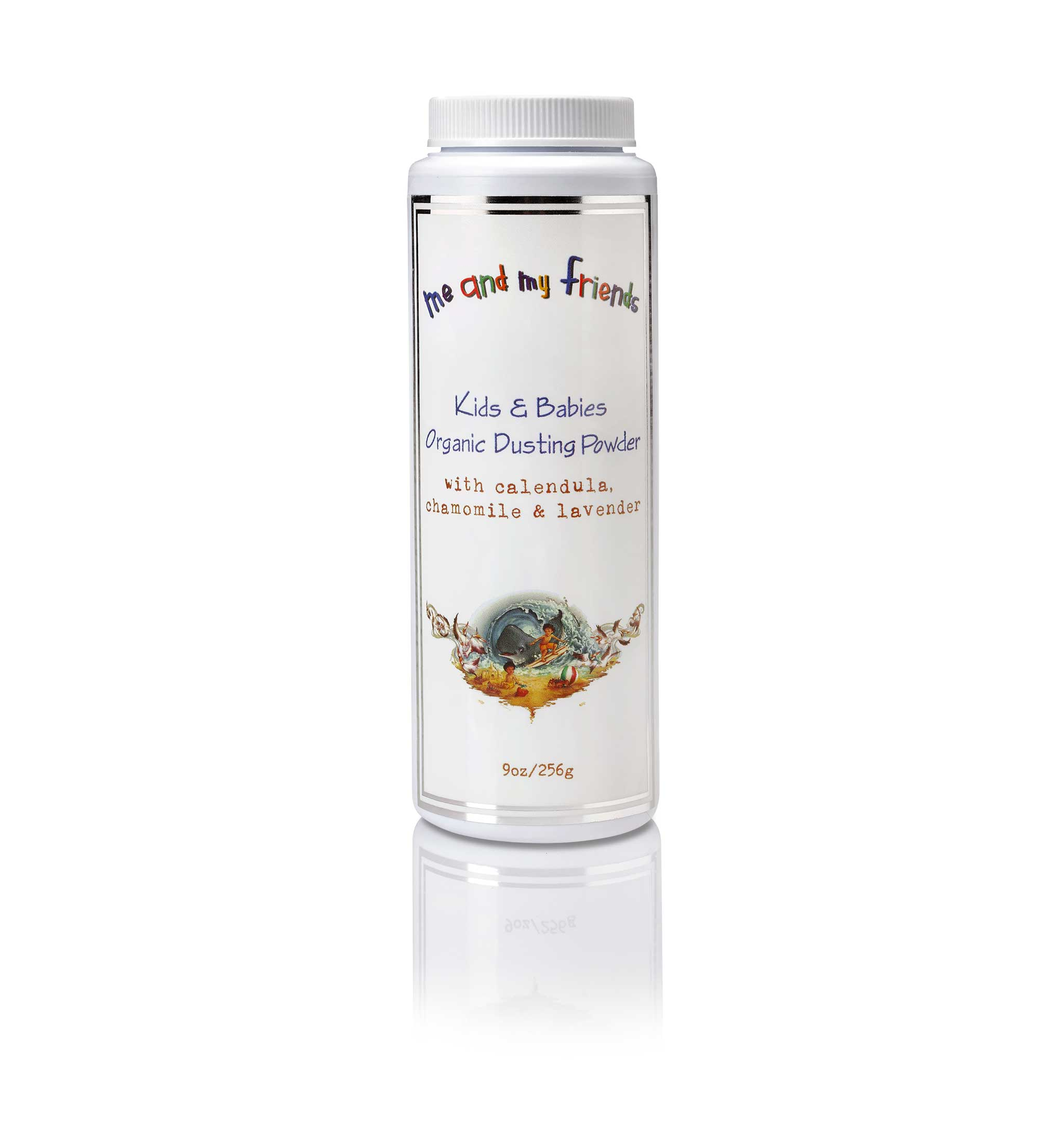 1 9oz Container of Nabila K's Me and Mr Friends Kids and Babies Organic Dusting Powder with Calendula, chamomile and lavender