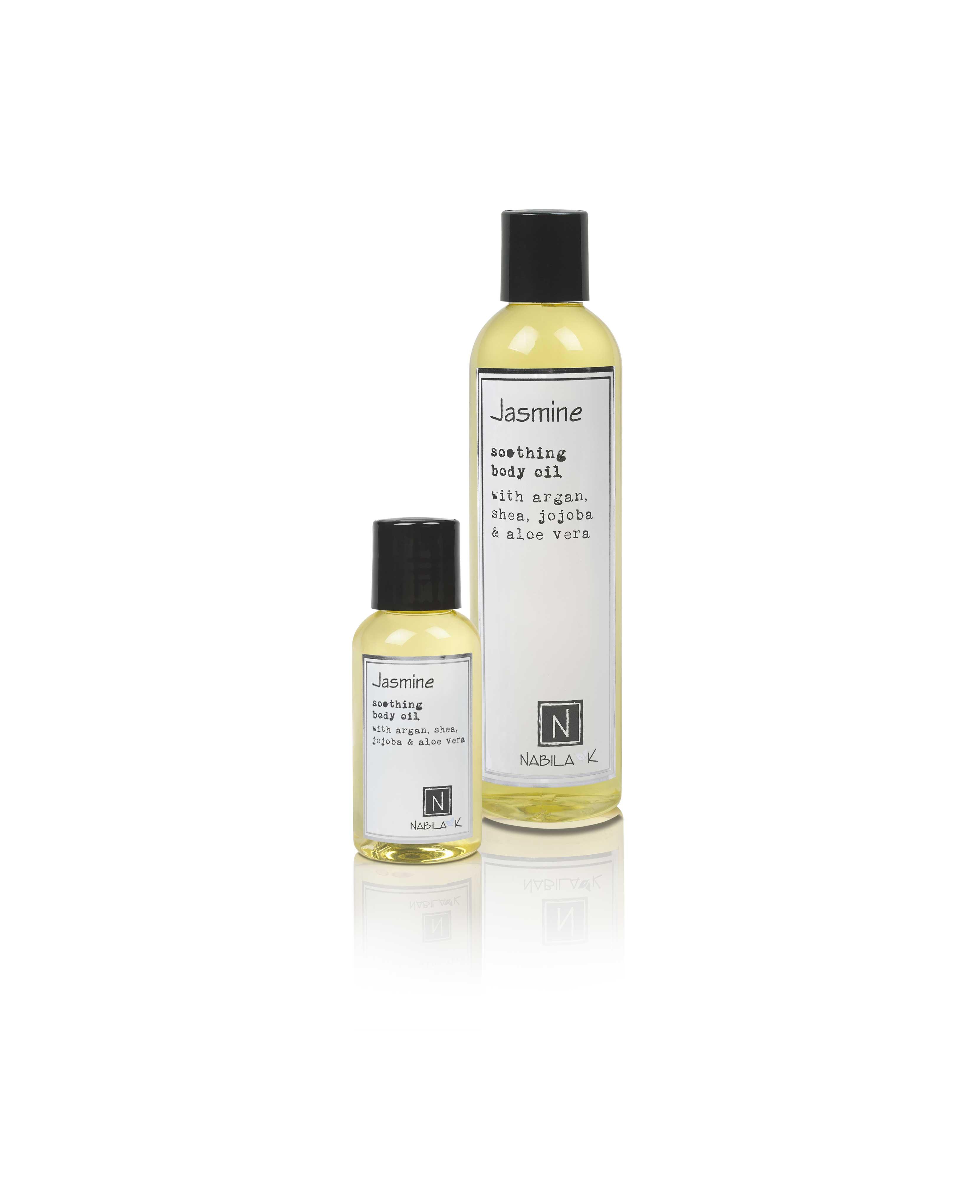 1 2.4oz and 1 9oz Bottle of Jasmine Soothing Body Oil with Argan, shea, jojoba, and aloe vera
