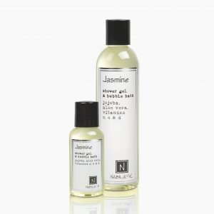 One Large and Travel Size Version of Nabila K's Jasmine Shower Gel and Bubble Bath Jojoba, Aloe Vera, Vitamins C, E, & D