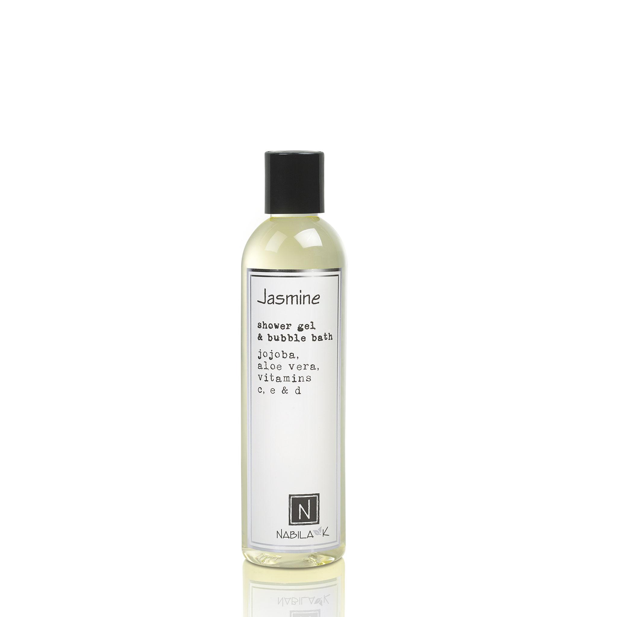 One Large Size Version of Nabila K's Jasmine Shower Gel and Bubble Bath Jojoba, Aloe Vera, Vitamins C, E, & D