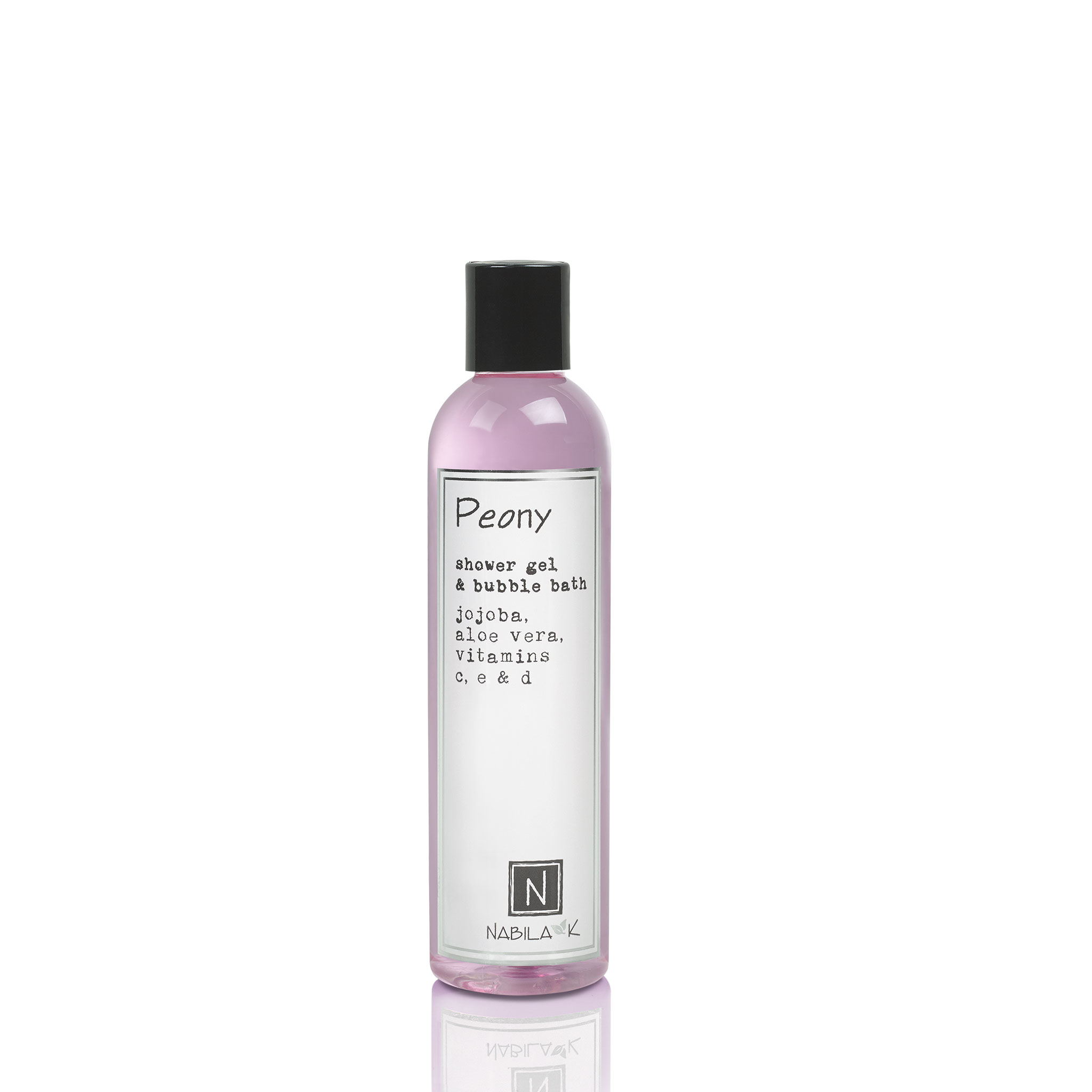One Large Size Version of Nabila K's Peony Shower Gel and Bubble Bath Jojoba, Aloe Vera, Vitamins C, E, & D