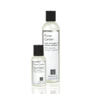 1 Travel and 1 Large Sized Bottle of Nabila K's Rose Garden Rose Collagen and Biotin Shampoo with Maunka Honey and Jojoba