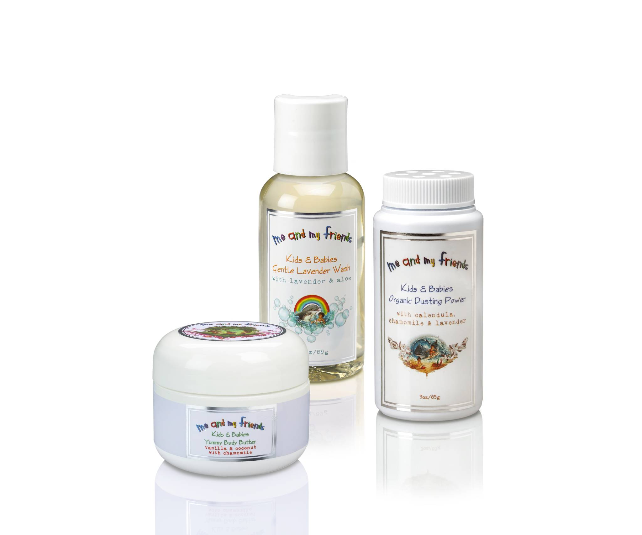 Kid safe, travel size lavender bath wash, coconut body butter and all natural powder